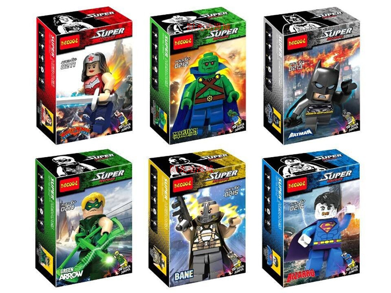 Супер Герои Бэтмен Bizarro Бэйн Wonder Woman Super Heroes строительные Конструкторы Наборы для ухода за кожей Игрушечные лошадки действий 0211-0216