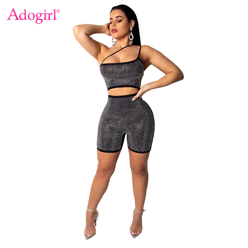 Adogirl One Shoulder Strappy Diamonds Jumpsuit Strapless Hollow Out Bar Night Club Party Romper Performance Outfits Playsuits