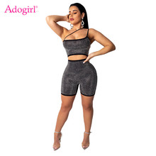 Adogirl One Shoulder Strappy Diamonds Jumpsuit Strapless Hollow Out Bar Night Club Party Romper Performance Outfits