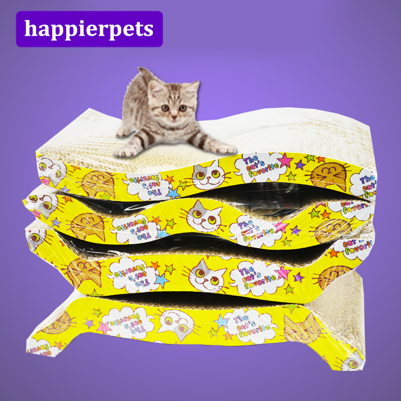 Corrugated Paper Cat Scratch Board Handmade Scratcher Funny Interactive Kitten Scratching Post For Pets Catnip Mpe123