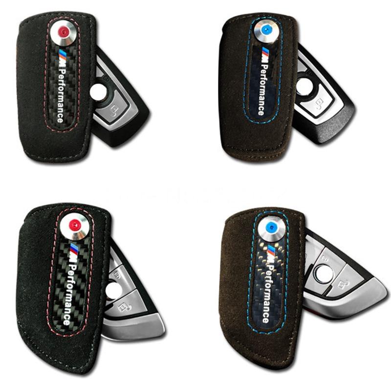 Leather Carbon Fiber Key ring holder Keychain Cover ///M Emblem Key Case For Bmw F10 F30 F20 X3 X1 X5 X6 For BMW Key Wallet