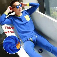 Liberliberty Mens Thermal Underwear Sets O Neck Thick Velvet Long Johns Men Warm Suits Autumn Winter Shirt+Pants 2 Piece
