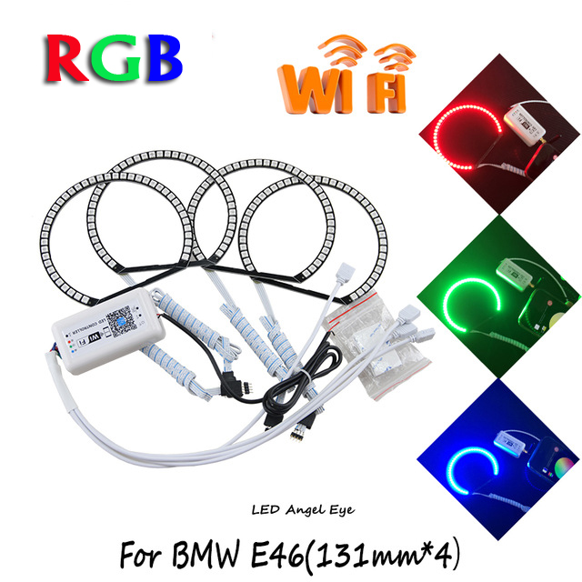 2017 New arrival wifi remote rgb Led angel eyes for BMW E36 E38 E39 E46 Projector color changing led halo rings tic 50b wps