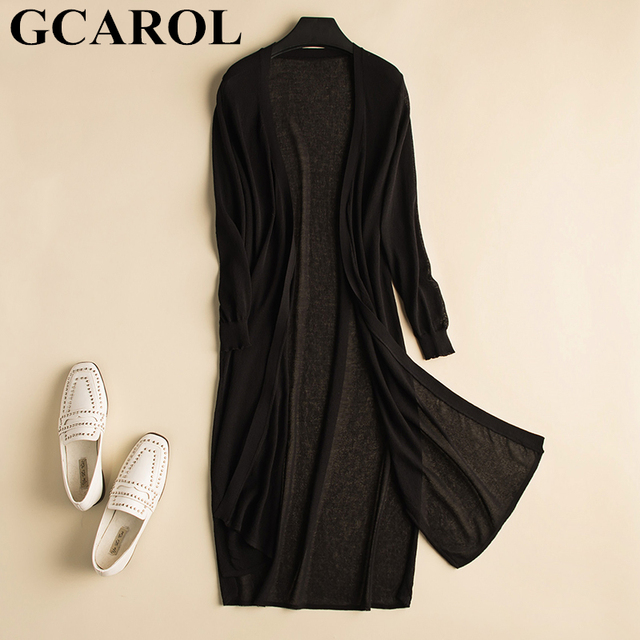GCAROL Spring Summer Thin Ice Silk Long Cardigan Women Air-conditioner Knitted Sweater 3/4 Sleeve Open Stitch Sun Outfits S-XL
