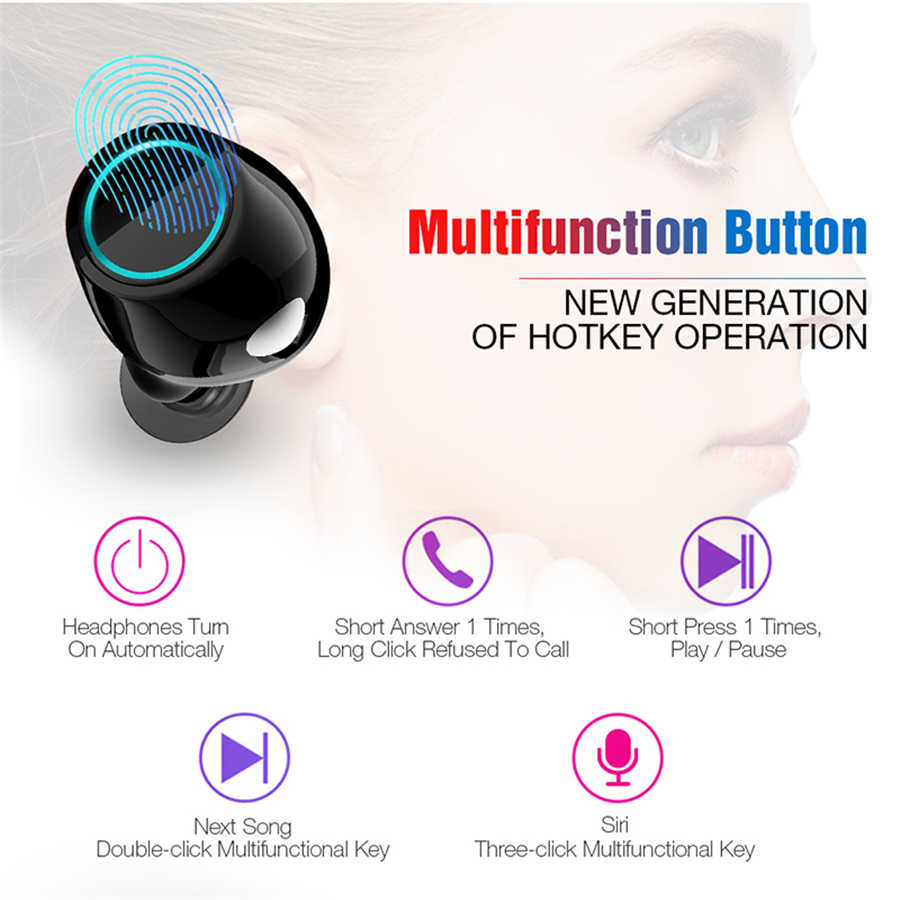 TWS Bluetooth Earphone Wireless Earphones Touch Control Earbuds Hifi Sport  Headset Air dots pod for iPhone Huawei All Compatible