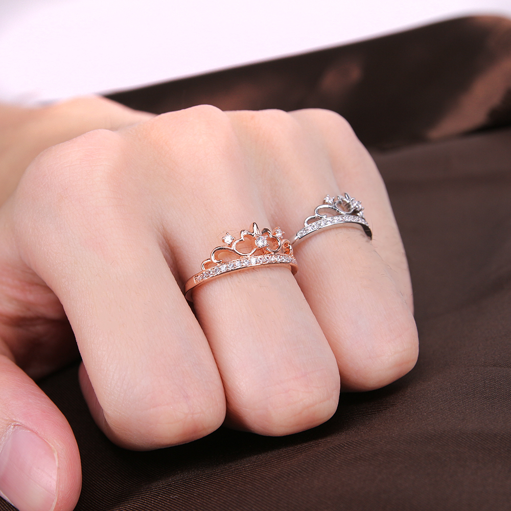 ZS Fashion Princess Crown Ring Queen Engagement Rings Rose Gold ...