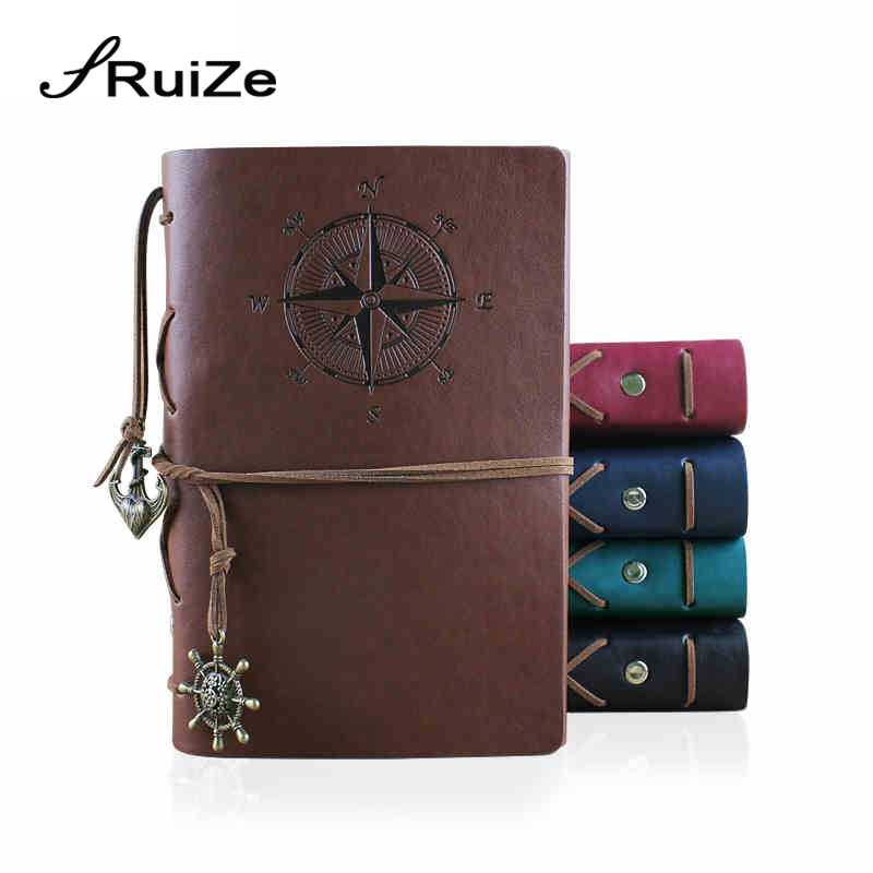 RuiZe Hot sale vintage travelers notebook refill kraft paper sketchbook A6 leather journal spiral note book with blank pages