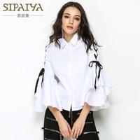 New Women Chic Elegant Sweet White Trumpet Long Sleeves Split Tops Shirt Female Spring Autumn Tend Loose Casual Blouse Tunic