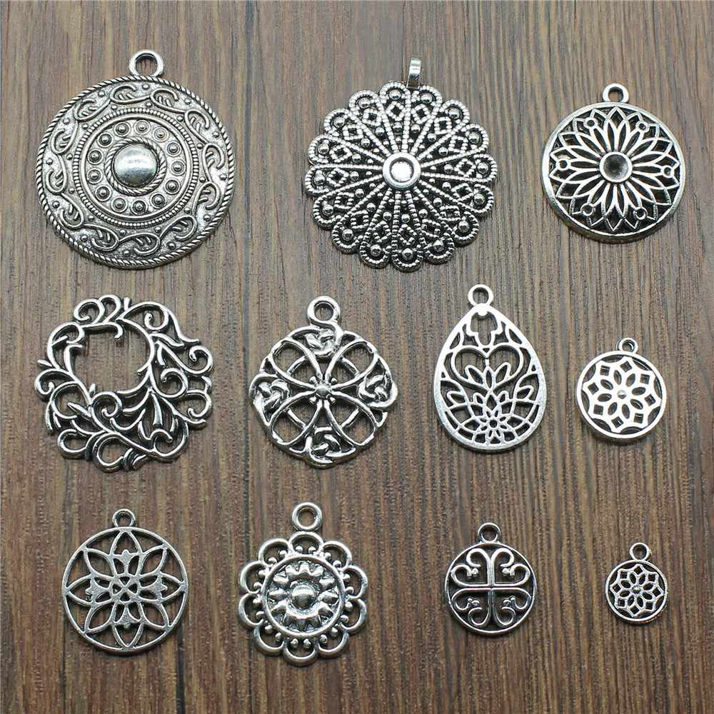 10pcs/lot Charms Motif Antique Silver Color Motif Pendant Charms Flower Charms For Jewelry Making