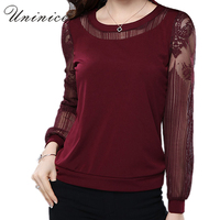 Lace Blouse Shirt Women Red Black Plus Size Casual Chiffon Blouse Women S Clothing Loose Long