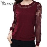 Lace Blouse Shirt Women Red Black Plus Size Casual Chiffon Blouse Women S Clothing Loose Long