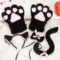 Anime Cosplay disfraz accesorio Hairbands con orejas de gato fantasía Set Maid Lolita peluche guante cola oreja