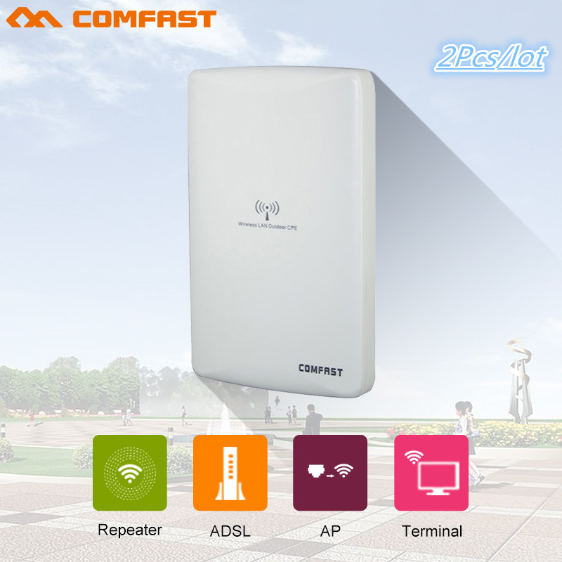 2PCS comfast 300Mbps wireless bridge CF-E316N-V2.0 outdoor high power CPE wi-fi repeater for remote wi-fi transmission/receiving comfast cf e316n 300mbps wireless ap network bridge outdoor wi fi cpe repeater white