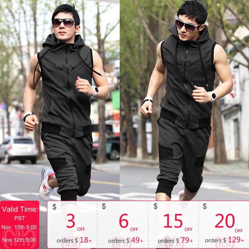 ZOGAA Men's Casual Tracksuit Men's Sweat Suit Fashion Color Block Two Piece Set Sleeveless Hooded Sweatshirt Mid-length Pants