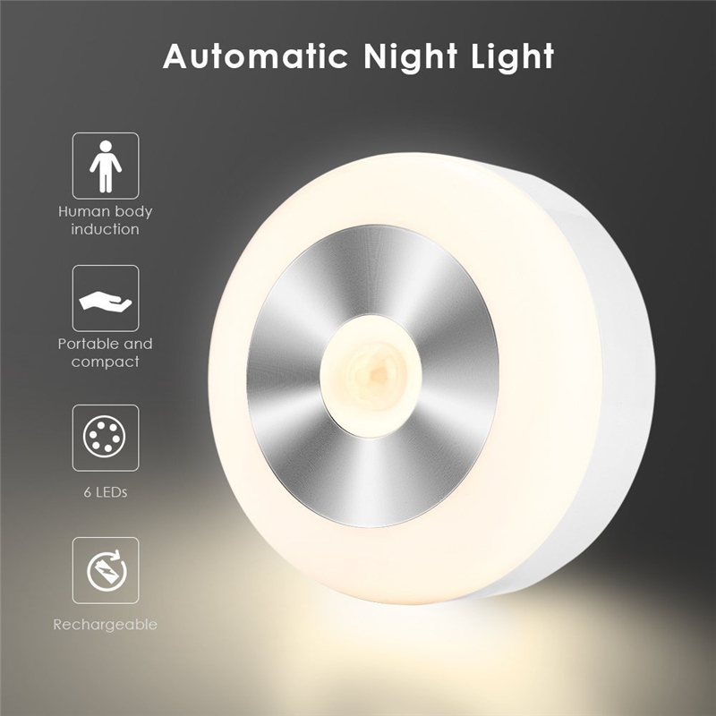 Hot 6LED PIR Body Motion Sensor Activated Wall Light Night Light Induction Lamp Closet Corridor Cabinet Led Sensor Light Battery