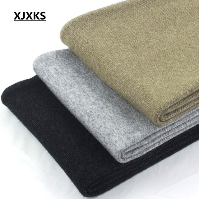 XJXKS Casual 100% Wool Knitted Men's Leggings Elasticity Autumn And Winter Warm M-XXL Comfortable Men Pants 3 Colors 2
