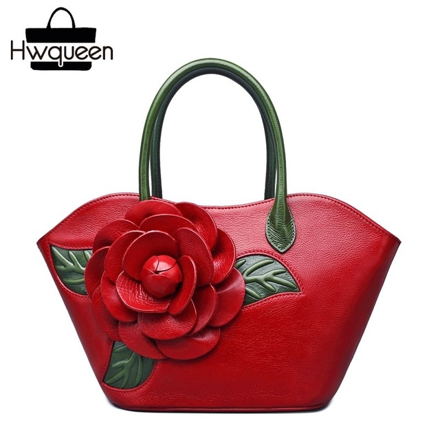 Chinese Red Style First Layer Genuine Leather Women's Rose Flower Totes Bag Real Cowskin Female Small Handbag Ladies Carry Bag