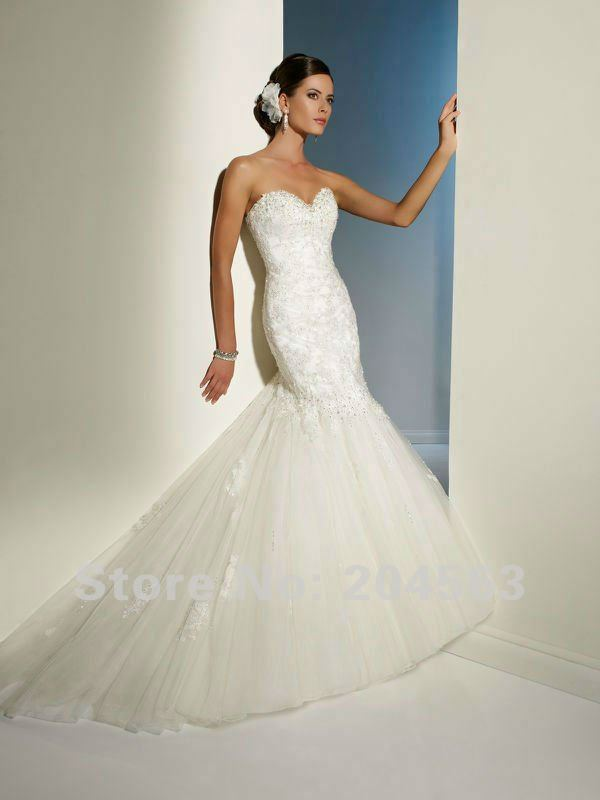 Hot Sale Mermaid Sweetheart Wedding Dress with Appliques custom size color