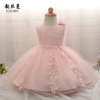 Kids Dresses for Newborn 3 6 9 12 18 21 Months Girls Babies 1 Year Birthday Dress White Lace Princess Embroidered Dress 2C21A