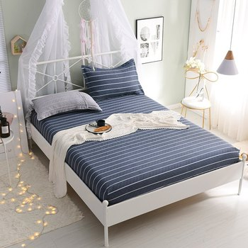 100% Cotton Fitted Sheet Bed Mattress Cover Bed Cover with Elastic 1