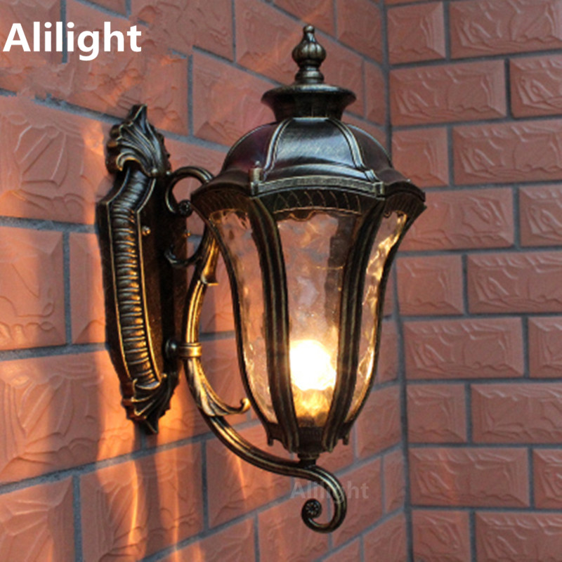 American Retro Mermaid Porch Lights Outdoor Lighting Bronze Color Rustproof Aluminum E27 Sconces Exterior Wall Fixtures In Led Lamps