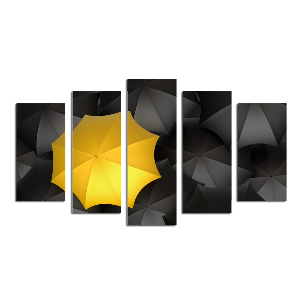 Obrazy na plátně, Žlutý deštník Obrazy na plátně, Moderní Obrazy na plátně pro obývací pokoj Nástěnné dekorace pro domácí kancelář