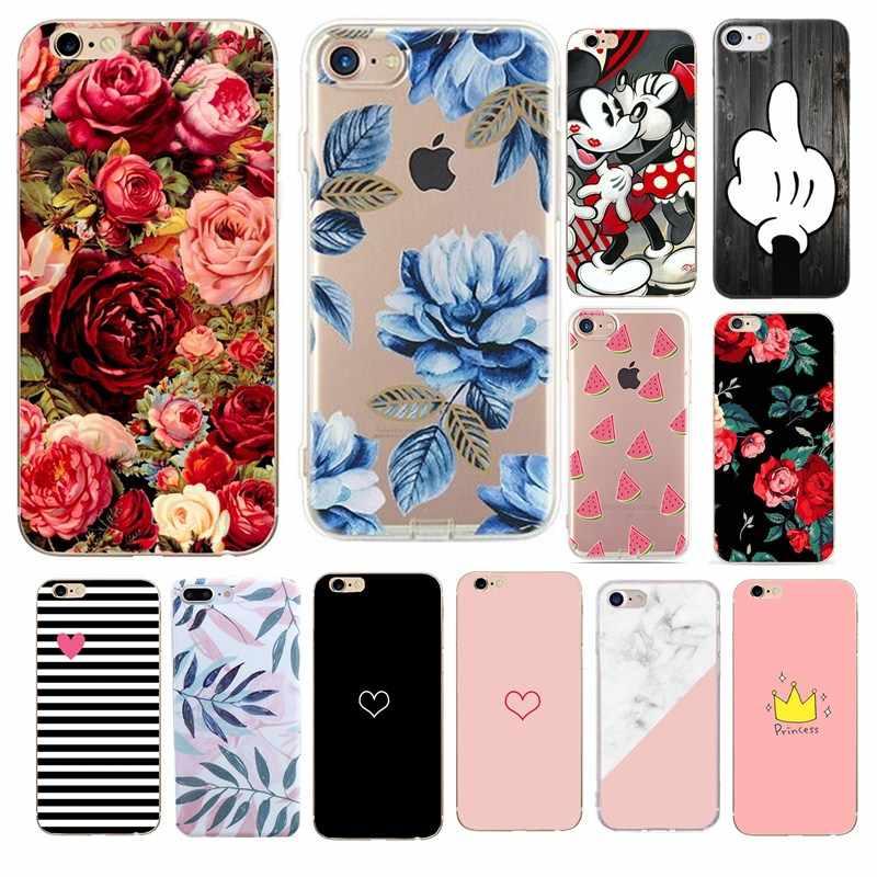 Complet Housse de Téléphone étui pour iPhone XS X 8 6 6 s 7 Plus 5 5 s SE Floral Feuille Housse De Protection Souple Pour iPhone 7 8 Plus Étui