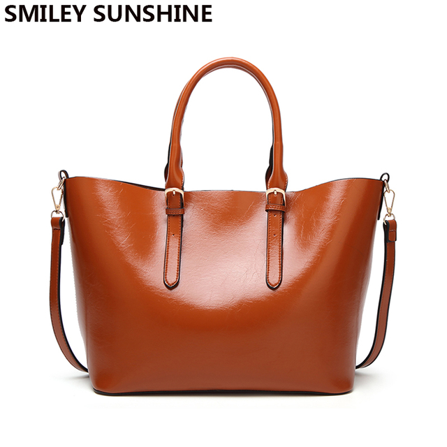 Smiley Sunshine New Top Handle Bags Vintage Luxury Women Leather Handbags Designer Female Tote Hand