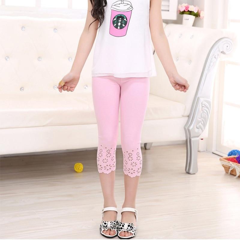Summer Cotton Korean Children Cut Flowers Capri Pants, Girls Leggings