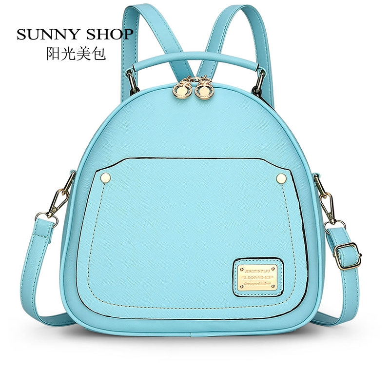 SUNNY SHOP Candy Color Spring Small Women Backpacks School Bags For Backpacks For Teenage Girls Fashion Leather Backpack Bagpack cardamom fashion leather backpack women bags cowhide leather bagpack with colorful patchwork backpacks for women
