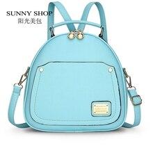 Sunny shop primavera pequeñas de las mujeres del color del caramelo mochilas bolsas escuela mochilas para niñas adolescentes de la moda mochila de cuero mochila