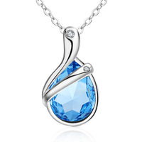 Popular style Korean version crystal necklace silver plated pendant female fashion, Japan, Korea, Europe, America and jewelry