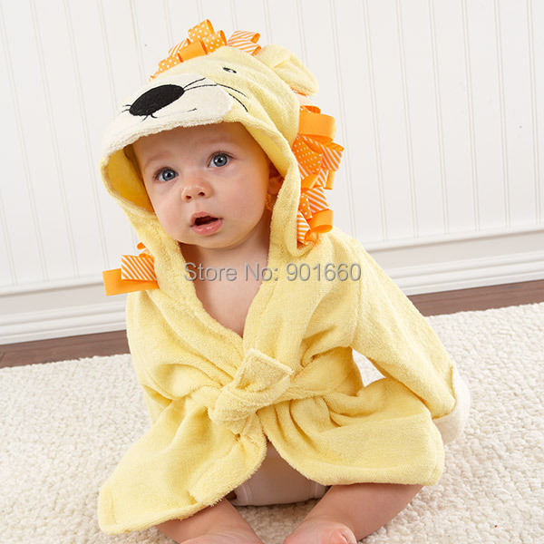 c3b1e562d2d Yellow Lion Baby Boy Girl Dressing Gown Splash Wrap Bath Hooded Towel Robe  0 12M-in Towels from Mother   Kids on Aliexpress.com