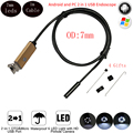 1M 6 LED 7mm Lens 2IN1 Android Endoscope Waterproof Inspection Borescope Tube CMOS Endoscope Camera For Cell Phone Android PC
