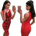 2016 Новое Лето женщины V-образным Вырезом без рукавов платья Нерегулярные ромб отпечатано красном платье женская мода Slim Fit Vestidos