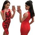 2016 Nuevas mujeres Del Verano V-cuello sin mangas vestidos Irregulares rhombus impreso vestido rojo mujer moda Slim Fit Vestidos