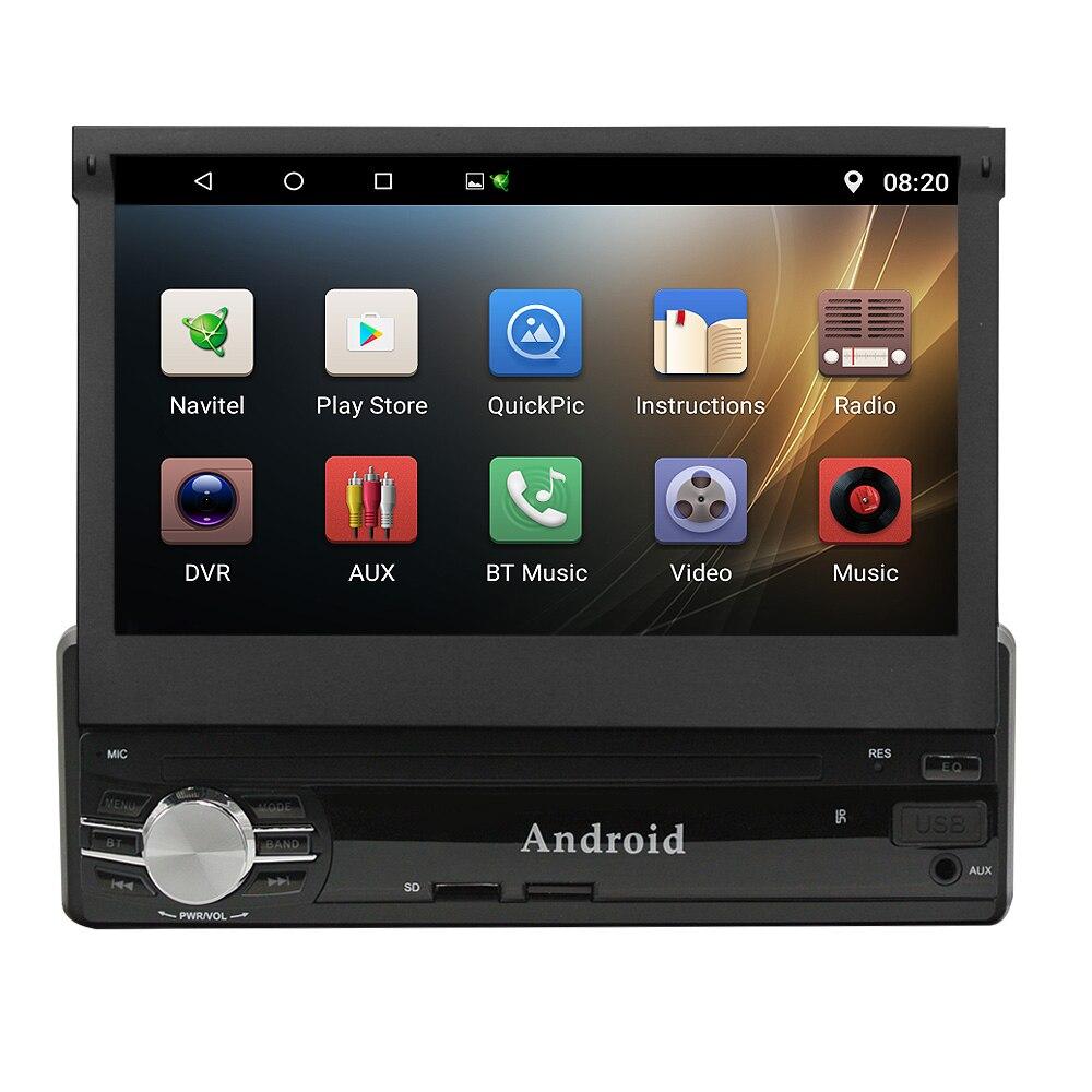 Ритм 1 din Android 6,0 7 дюймов HD сенсорный экран WI FI dvd плеер головное устройство Авторадио 4 ядра gps navi аудио Выдвижной