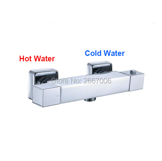 Free Shipping Square Shower Faucet Connect With Hose Bathroom Mixer Thermostatic Temprature Control Valve Tap