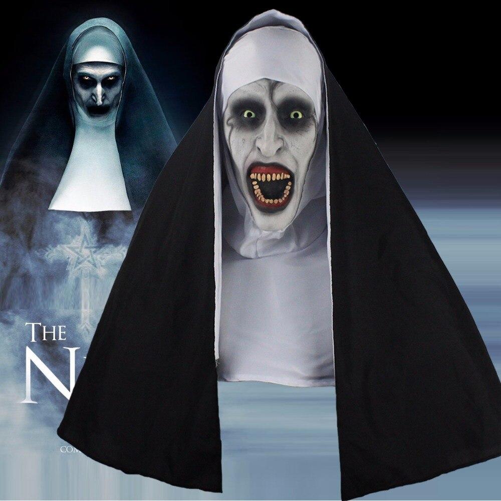 La monja terror Cosplay Valak látex Scary máscaras con pañuelo casco apoyos del partido de Halloween 2018 envío de la gota