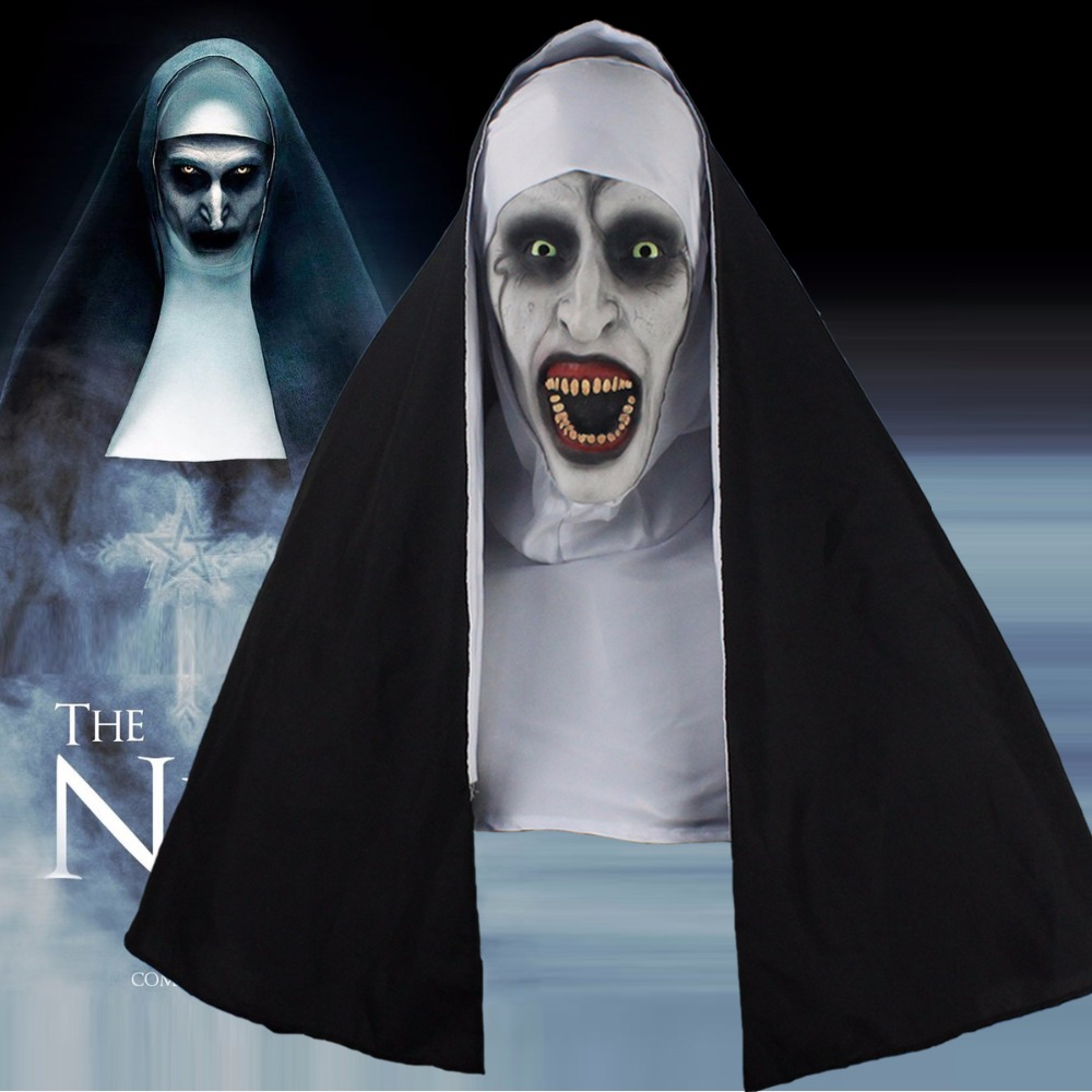 The Nun <font><b>Horror</b></font> Mask Cosplay Valak Scary Latex Masks With Headscarf Full Face Helmet Halloween Party Props 2018 Drop Shipping image