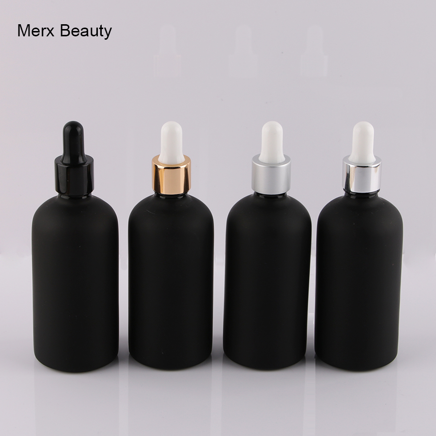 wholesales 8pcs 100ml matte frosted black glass Dropper bottle empty perfume bottles Liquid Bottle essential oil bottles 2 bottles x 90 pieces bottle black maca powder extracts 100
