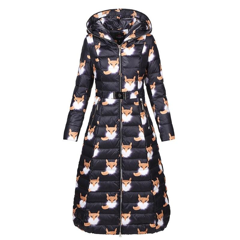 European Printed Winter Women Parkas Down Coats Jacket Lady Warm Slim Outerwear Overcoat Plus Size LF4206
