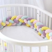 Baby Bed Bumper Newborn Crib Sides Protector Pad Long Cot Bumper Braided Long Knotted Ball Pillow Children's Anti Collision Tool