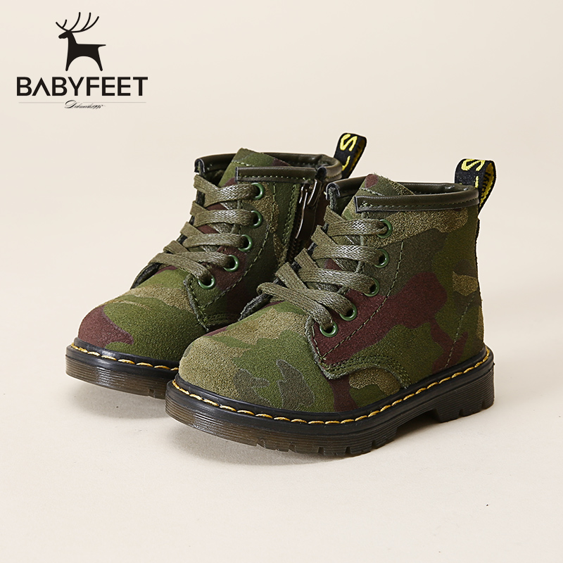 Babyfeet brand children Winter Martin boots girl flat kids fashion high top lace-up and side zip ankle boys casual leather shoes 2017 high grade children shoes genuine leather baby boys shoes martin boots waterproof breathable lace up ankle kids girls shoes