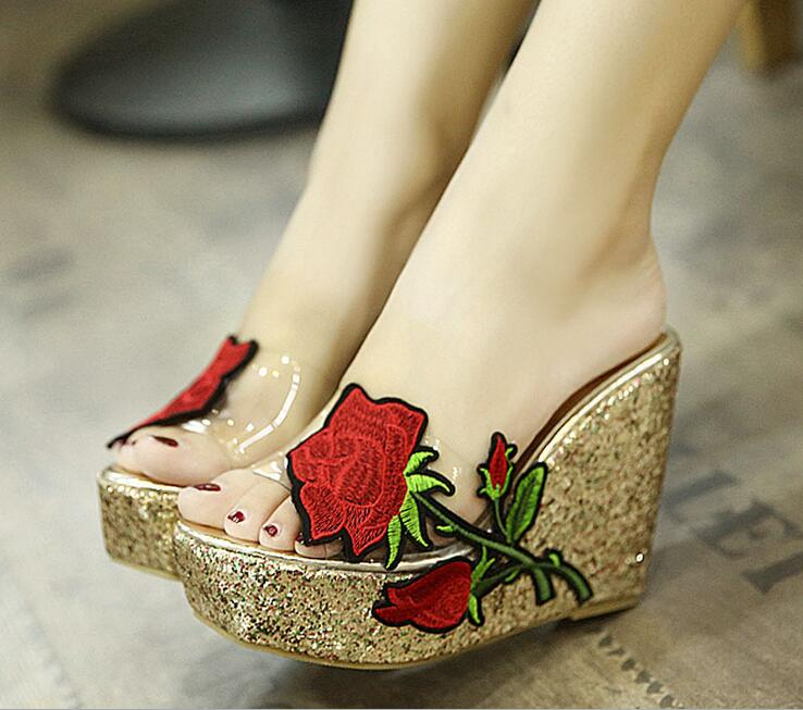 Fashion Women Summer Transparent Clear Wedge Sandals Slip on Floral Shoes Platform Gold Glitter Sequins High Heels Slippers