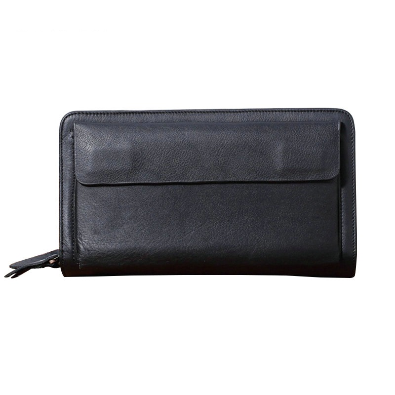 Business Men Clutch Wallet Extra Big Capability Male Purse 100% Genuine Leather Hand Clutch Bag Double Zipper Clutch Wallets