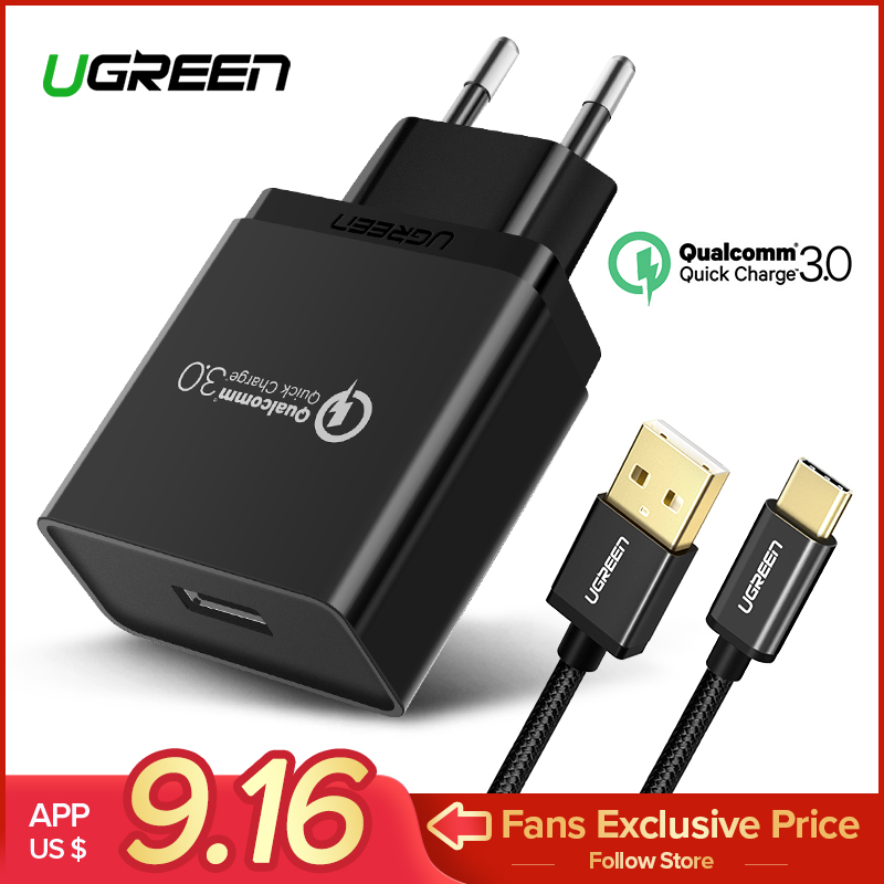 Ugreen USB Charger 18 w Quick Charge 3.0 Mobiele Telefoon Oplader voor iPhone Snelle QC 3.0 Oplader voor Huawei Samsung galaxy S9 + S8 +