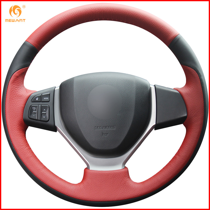MEWANT Black Suede Red Marker Car Steering Wheel Cover for Mitsubishi Pajero 2007 2014 Galant 2008
