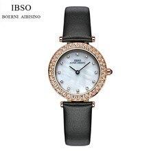 Woemn IBSO Marca Moda Mujeres de Cuero Reloj de Pulsera de Cristal de Lujo Vestido de Reloj de Cuarzo Analógico Relogio Feminino IB14