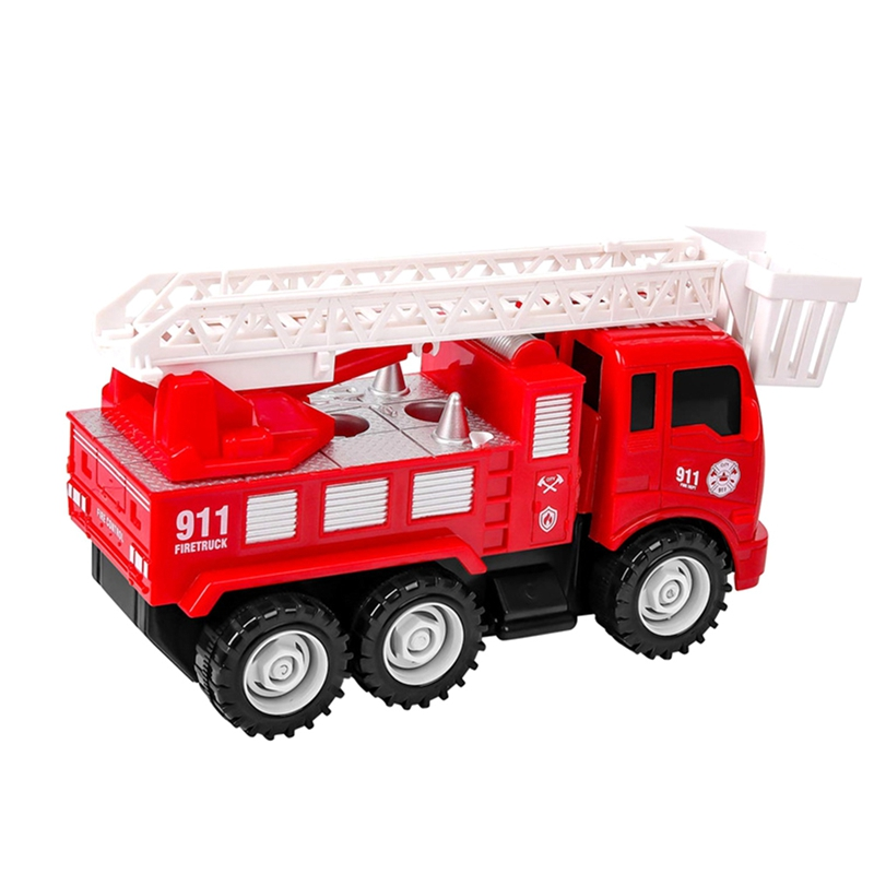 Diy Inertia Disassembly Fire Truck Mini Ladder Fire Truck Toy Children Simulation Fire Truck Classic Toys For Children